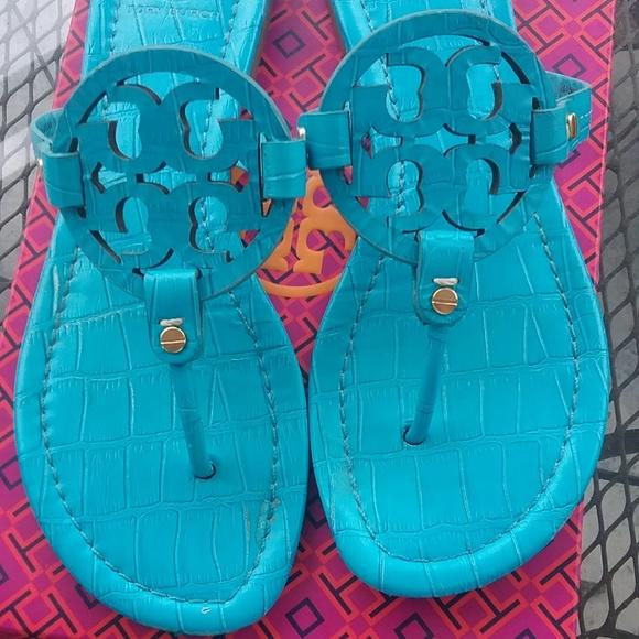fba218a03 Tory Burch Croc Embossed Miller Sandals Turquoise.  M 5cb359c6d1aa250477c8e40d